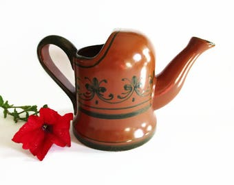 German Vintage Rustic Brown Ceramic Watering Can with Painted Ornaments, made in the 70s/80s