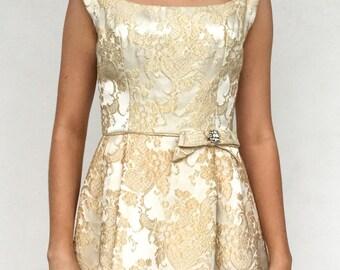 1950s Gold Brocade Dress with Rhinestone Bow