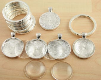 40 KEY Ring Making SETS Blank 1 inch Round Pendant Trays,  Glass Domes, Large Split Rings -  1 inch SILVER, Photos Charms