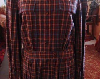 Vintage 1980s Brown Blue and Beige Plaid Dress