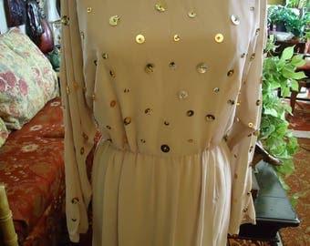 Vintage 1980's Nude Beige Gold Embellished Dress