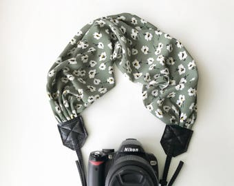 Scarf Camera Strap for dSLR digital cameras -green and white floral camera strap