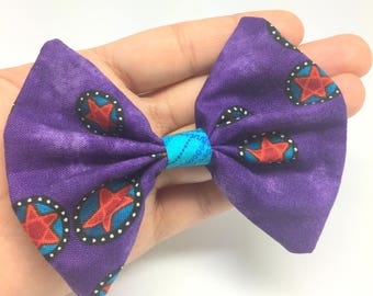 Purple Bow tie swag for cats and small dogs, pentagram print bow tie