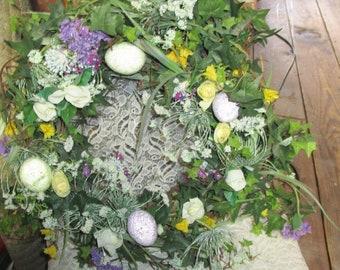 Easter Wreath,  Grapevine wreath, Spring flowered wreath, Easter Egg wreath
