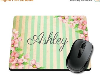 ON SALE NOW Floral / Striped Personalized Printed Mouse Pad / School Supplies / Office Desk Accessories / Mousepad / Tween / Watercolor Teac