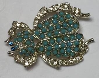 15% OFF SALE vintage BUG Brooch  Faux Turquoise Sets  Item: 11414