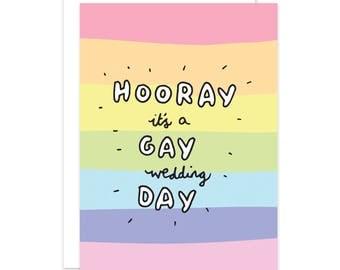 Hooray It's A Gay Wedding Day Card