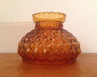 Vintage Amber Glass Quilted Hurricane Lampshade