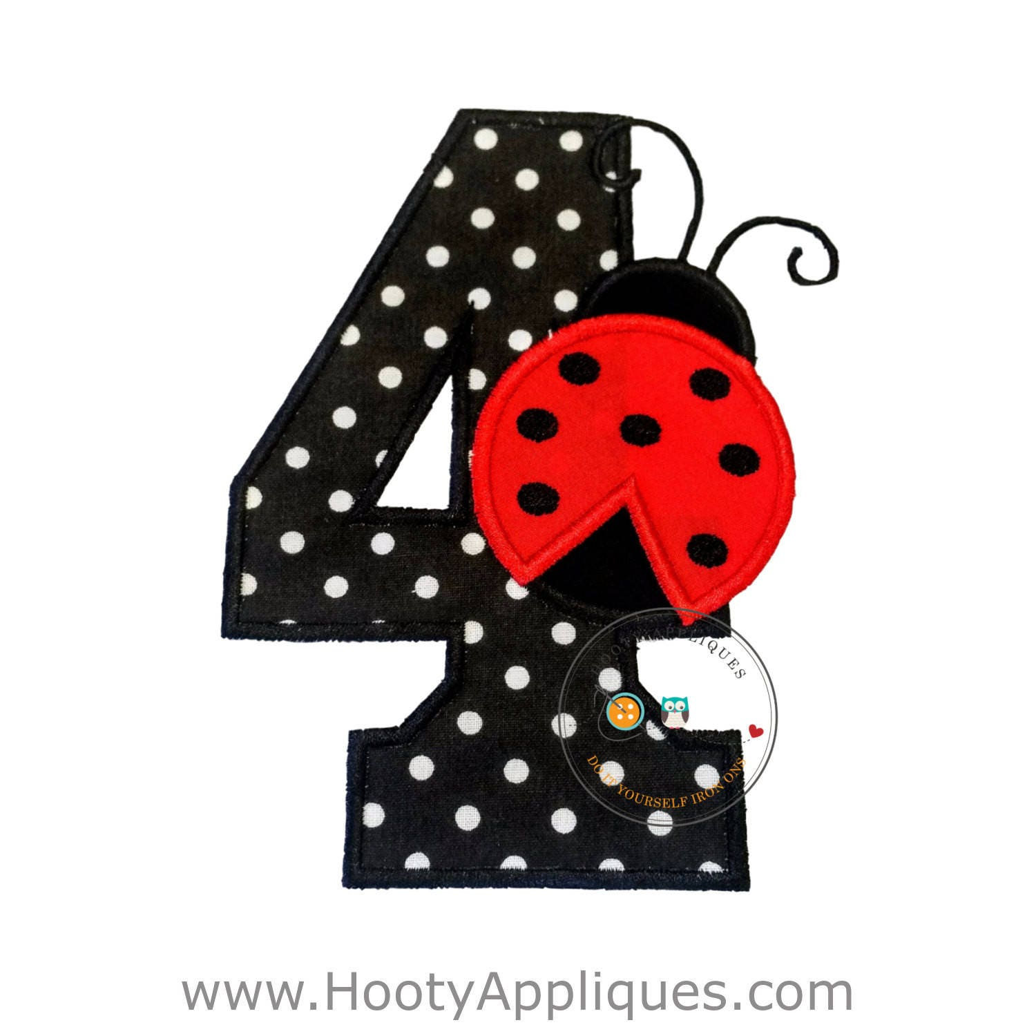 red lady bug birthday number 4 iron on applique black and white