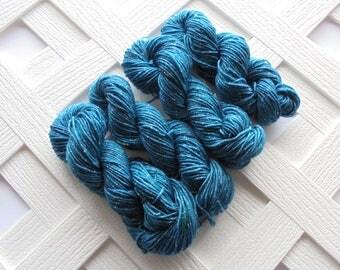 Hand-dyed Mini Skeins, RENAISSANCE BLUE, Sparkly Sock Weight Minis, Speckled Mini Skein, Hand-Dyed Mini Skein, Fingering Weight Yarn, Knit