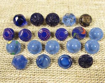 Diminutive Blue Sewing Buttons - Vintage Opaque Transparent Glass Enamel Mixed Lot