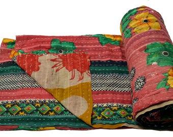 Vintage Kantha Quilt Gudri Reversible Throw Ralli Bedspread Bedding India OG1044