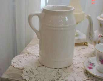 Pitcher Ironstone White Pottery Vintage French Country Prairie Farmhouse Chic