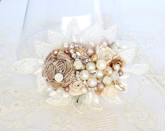 Bridal Hair Comb- Champagne Hairpiece- Bridal Hair accessories-Wedding Hair Accessories-Champagne Bridal Comb- Wedding Hairpiece-Bridal Comb