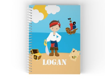 Pirate Personalized Notebook - Pirate Boy Sea Island with Name, Customized Spiral Notebook Back to School