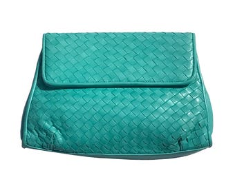 Vintage 70s 80s MEYERS Mint Turquoise Green Soft Woven Leather Purse