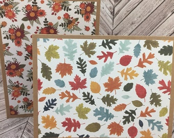 leaf cards, fall cards, autumn cards, harvest cards, thanksgiving cards, fall note cards, autumn note cards, leaf note cards, 4 cards