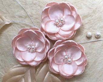 Blush silk flower hair accessory, bridal hair clip, blush shoe clips, pale pink flower, dress sash brooch sew in ornament, bridal hair pins