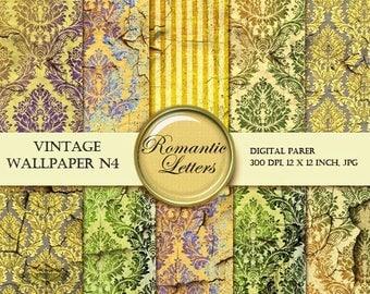 Sale 60% Digital Scrapbook paper pack Old Grunge Wallpaper digital Backdrops Damask background texture