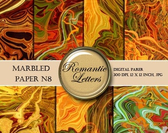 Sale 60% Digital scrapbook Marbled paper pack digital  papers, vintage marbled paper background origami paper decoupage printable paper pack