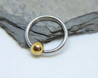 """Belly Button Ring - Body Jewelry - Gold Beaded Captive Bead Ring Belly Ring - Belly Rings - CBR 16 or 14 Gauge 3/8"""" 7/16"""" 1/2"""" 5/8"""""""