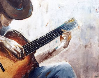 "Title ""Francisco"" Guitarist 30""x24"" by Mavis"