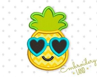 Funny Pineapple in Sunglasses Applique Embroidery Design DE042