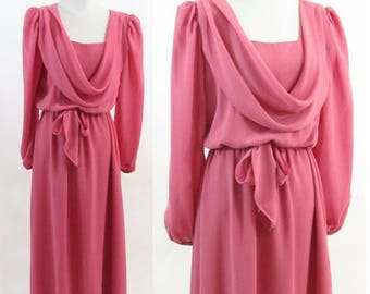 SUMMER SALE Vintage 70's Pink Formal Gown - Long Sleeve Drape neck Athens Chiffon Dress - Flowing Prom Dress - Vintage Bridesmaid - Size Med