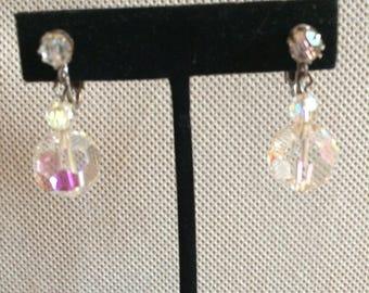 Vintage Cut Crystal Clip Earrings