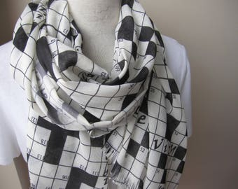 Crossword etsy crossword scarf down crossword puzzles print fabric long geek gift idea for her crossword lovers negle Images