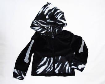 Girly sweatshirt in black velvet Zebra Bones