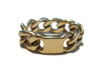 14K Solid Gold Ring , Gold Curb Chain Ring, Signet  ID, Chainmaille Jewelry, Artisan Handmade  by Sheri Beryl