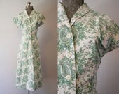 RESERVED FOR LESLIE - 1940's Penney's Green Cotton Day Dress / Size Large