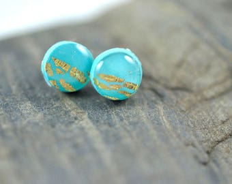 Tiny Turquoise Dot with Half covered in Gold Leaf High Gloss Stud Earrings