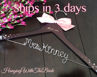 Wedding gift, wedding hanger, bride gift, wire hanger, name hanger, wire hanger, Bridesmaid gift,