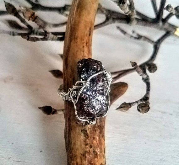 Chunky Garnet In The Rough Argentium Sterling Silver Wire Wrapped Ring Size 8.0