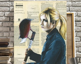 Canvas of Buffy Summers from Buffy The Vampire Slayer on Book Pages