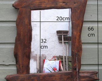 Driftwood / rustic style, chunky mirror & shelf in recycled pine with dark oak beeswax finish