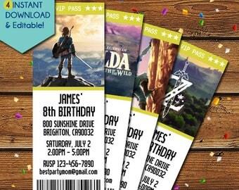 Legend of Zelda Invitations, Legend of Zelda Birthday Invitation, Legend of Zelda Party Invite, Legend of Zelda Invite, Video Game, Nintendo