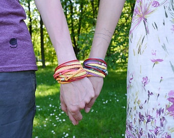 Yellow Orange Coral Wrap Bracelet, Rinbow Boho bracelet, Hippie Gypsy Bracelet, Summer Bohemian Jewelry, gift for her, double wrap bracelet