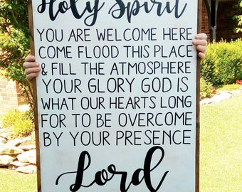 HOLY SPIRIT you are welcome here wood sign / 24x32 / framed / three mango seeds / scripture art