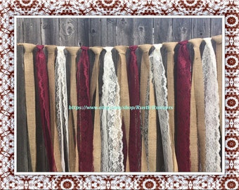 Rustic Charm Wedding Hanging Decor Burlap and Lace Garland Burgundy Wine & Ivory Lace Swag Rag Tie Backdrop Curtain Shabby hanging garland