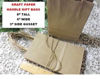 "25 Kraft Handle Bags, 5x8, Kraft Shopping, Gift, Favor Bags with 3"" Gusset"