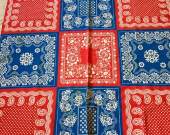 Vintage Tablecloth in Red White and Blue Colors Picnic July 4th Style (46 by 48)