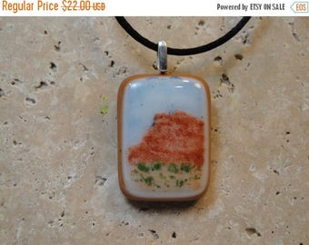 Christmas in July Sale Fused Glass Pendant with Enameled Landscape Design - BHS01263