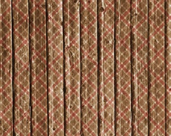 Old Wood PLAID (PL-08) Brown with Wine/Crimson - Top Quality Commercially Printed