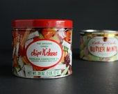 Vintage Candy Tin Canister Chips N Chews by Peerless Confections and Butter Mints by Kathryn Beich Pair of Candy Tins