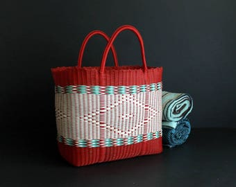 Vintage Beach Bag Red White and Turquoise Rubberized Plastic Reusable Grocery Tote