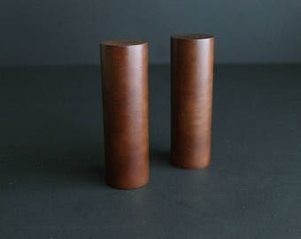 Vintage Mid Century Salt and Pepper Set Wood Mod Style