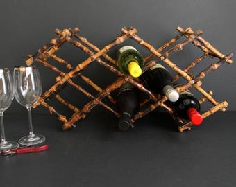 Vintage Bamboo Wine Rack Mid Century Collapsing Bottle Holder Expanding